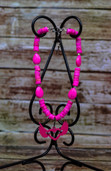 Pink heishi strand with winged heart pendant-Lil'Chick