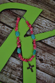 Pink and turquoise necklace with cross dangle-Lil' Chick