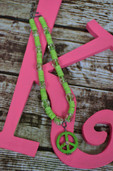 Glow in the dark green peace necklace-Lil' Chick