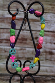 Multicolored nugget necklace with peace signs-Lil' Chick