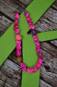 Hot pink nugget necklace with clay beads-Lil' Chick