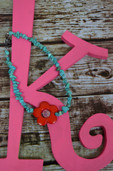 Turquoise chip necklace with red flower pendant-Lil' Chick
