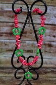 Hot pink and lime green flower necklace-Lil' Chick