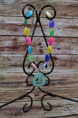 Multicolored necklace with peace pendant-Lil' Chick