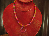 Multicolored round bead necklace with horsehoe pendant-Lil' Chick
