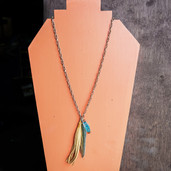 Copper chain feather dangle necklace