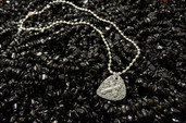 Men's raised cross guitar pick necklace