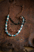 Copper and turquoise long chain necklace