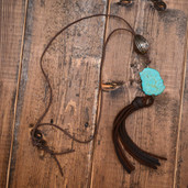 Leather and turquoise slab necklace