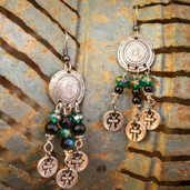 Aztec cross dangle earrings