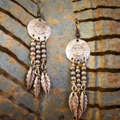 Aztec feather dangle earrings