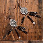 Black Agate round bead earrings