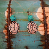 Aztec pattern Copper and turquoise dangle nugget earrings