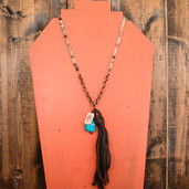 Agate bead long leather tassel necklace