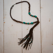 Fringe and colored stone long tassel necklace