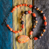 Chocolate and orange round bead necklace with orange Agate slice pendant