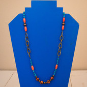 Brass chain and orange and blue turquoise bead layering necklace