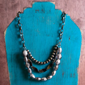 Chunky three strand chain and nugget necklace