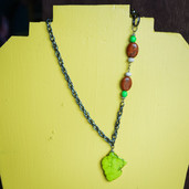Chain and lime, brown and cream stone necklace
