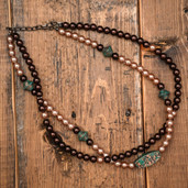 Champagne, brown and patina TQ bead two strand necklace