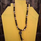 Chocolate and mother of pearl tassel necklace