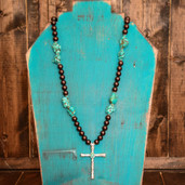 Chocolate pearl and TQ nugget necklace with silver inlay cross pendant