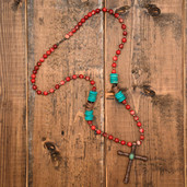 Copper cross and red marbled round bead long necklace