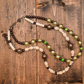 Beige, lime and brown bead two strand necklace