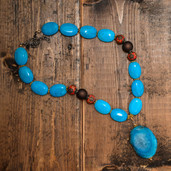 Blue turquoise rectangular Agate pendant necklace with oval turquoise and orange detail beads