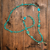 Cream and turquoise Blessed pendant necklace