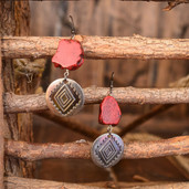 Red slab and Aztec round bead dangle earrings
