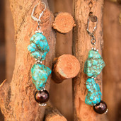 Brown pearl and turquoise nugget lever back earrings