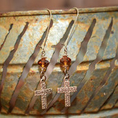 Amber crystal kidney dangle earrings