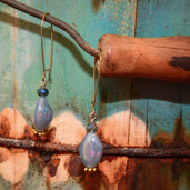 Blue long oval bead kidney wire earrings