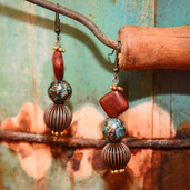 Brown, copper and patina turquoise bead dangle earrings