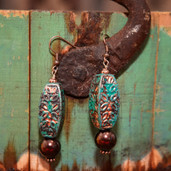 Brown pearl and turquoise patina bead long dangle earrings
