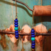 Blue and turquoise banded kidney dangle earrings