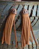 Saddle tan leather and copper etched dangle earrings