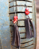 Leather fringe dangle earrings with colored chips
