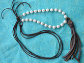 Pearl and leather long adjustable length necklace with fringe tassel