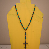 Turquoise and brown rosary style necklace