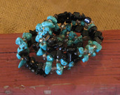 Memory wire bracelet-black and turquoise