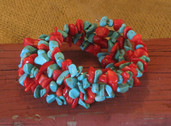 Memory wire bracelet-turquoise and red