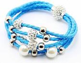 Leather Braided Blue Bracelet