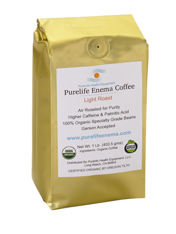 bag of coffee purelife enema coffee 100% certified organic air roasted coffee