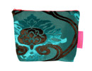 Tretchikoff Teal 2 Tone Velvet Lotus Cosmetic Bag
