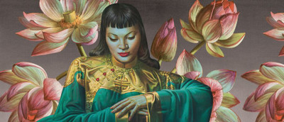 "Tretchikoff ""Lady from Orient & Lotus Flowers"" Wallpaper"