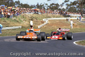 73630 - J. Walker Repco Matich A50 & K. Bartlett Lola T300 - Sandown 1973 - Photographer Peter D Abbs