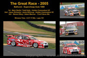 The Great Race 2005 - A collage of 4 photos showing the first three place getters from  Bathurst 2005 with winners time and laps completed.