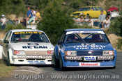 82066 - Dick Johnson Falcon XD & Allan Grice Commodore  VH - Amaroo 1982 - Photographer   Lance J Ruting